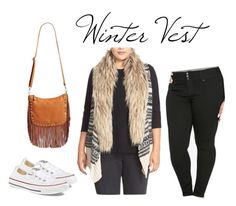 """Winter Vest"" by smilesmakesunshine on Polyvore featuring BB Dakota, Street Level, Converse and plus size clothing"
