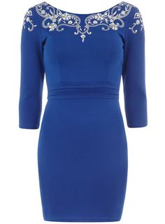 Embroidered 3/4 sleeve dress, Dorothy Perkins