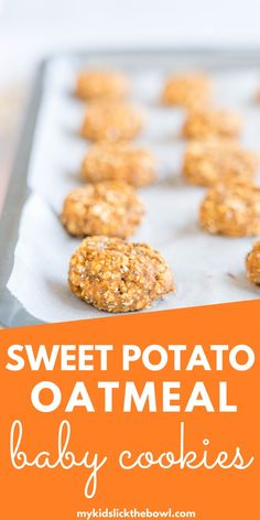 Sweet Potato Cookies a baby-led weaning recipe for soft healthy cookies with no added sugar perfect as a snack or breakfast idea #babyledweaning #babycookies #blwideas #homemadebabyfood Sweet Potatoes For Baby, Sweet Potato Baby Food, Sweet Potato Cookies, Sweet Potato Breakfast, Sweet Potato Recipes, Baby Food Recipes, Family Recipes, Cooking Recipes, Healthy Cookies For Kids