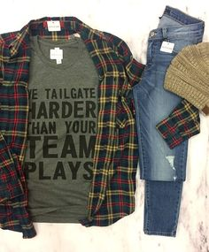 Braving the cold for the game this weekend? This graphic tee and flannel combo is perfect for the cloudy weather we are expecting!☁️  #xoxoAL4You #football #tailgating #flannellove #shoplocal Our Lumberjack Plaid (Green) $56 We Tailgate Harder $34 Place an order with the link below! http://form.jotform.us/form/52044697810154