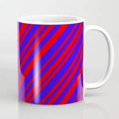 Available in 11 and 15 ounce sizes, our premium ceramic coffee mugs feature wrap-around art and large handles for easy gripping. Dishwasher and microwave safe, these cool coffee mugs will be your new favorite way to consume hot or cold beverages. #blue #red #stripes