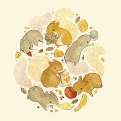 Children's Illustration 1 by teagan white, via Behance - things squirrels probably shouldn't be eating