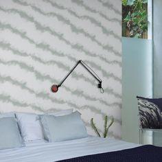 Smoke Wallpaper by alizamiri Scandinavian Wallpaper, Scandinavian Design, Smoke Wallpaper, Deep Winter, Striped Wallpaper, Elle Decor, Designer Wallpaper, Wall Lights, Wallpapers
