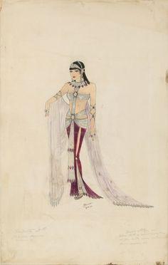Travis Banton - Costumier - Esquisses et Croquis - Cléopâtre - 1934 - Claudette Colbert