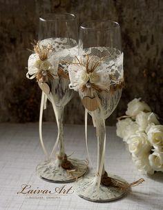Wedding Champagne Flutes Toasting Glasses Rustic Toasting Flutes Wedding…