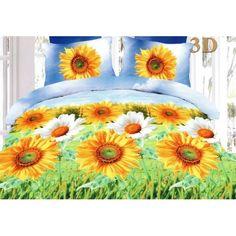 Posteľné obliečky v modro zelenej farbe so slnečnicami - domtextilu. Comforters, Blanket, Bedroom Stuff, Furniture, Home Decor, Colors, Creature Comforts, Quilts, Decoration Home