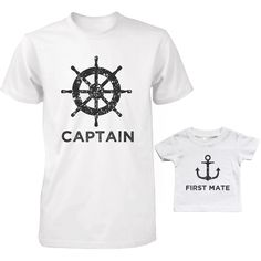 Captain And First Mate Matching Shirts Father And Son Outfits Fathers Day Gifts