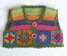 Colourful Crochet Vest 18mths - 3 yrs - by artandwool on madeit ༺✿ƬⱤღ✿༻