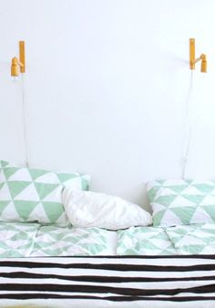 KOTIPALAPELI / Bedroom - mono - green, mint - pattern - bed duvet - pilows