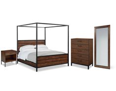 Joanna's Industrial Bedroom has a worn-in repurposed look with its rustic Milk Crate finish and blackened metal bases. Notice the clean, square shapes and how the slender bar handles are placed high on the drawer fronts. Jo's Framework Canopy Bed is an attention getter with its horizontal shiplap panels and tall, square metal canopy frame. And, you will really love the tall Framework Floor Standing Mirror to check your look before you dash out the door. Follow Joanna's example and add some…