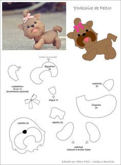 ART WITH QUIANE - Paps, Molds, EVA, Felt, seams, 3D Fofuchas: 7 unpublished templates you need to have! Yorkshire Terrier Feltie Templates