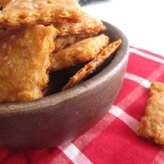 Homemade Cheez-Its ... Ooh, these look yummy! Just replace the butter and cheese with something healthier and viola!