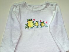 Baby Girl long sleeve tee with Frogs, Infant Girl tee, Girl's embroidered t-shirt, Girl's outfit with frogs, Girl's top by SewFlurry on Etsy