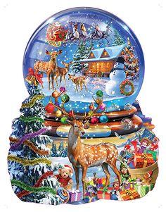 Christmas Snow Globes, Christmas Balls, Christmas Fun, Vintage Christmas, Christmas Icons, Winter Holiday, Christmas Pictures, Christmas Jigsaw Puzzles, Christmas Puzzle
