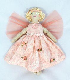 Fairy Doll in Peach  Art Doll  OOAK Cloth Doll  Handmade