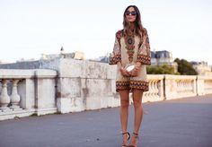 aimee-song-valentino-dress-saint-laurent-heels-mirror-clutch