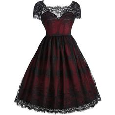Wine Red 2xl Vintage Lace Square Neck Dress ($17) ❤ liked on Polyvore featuring dresses