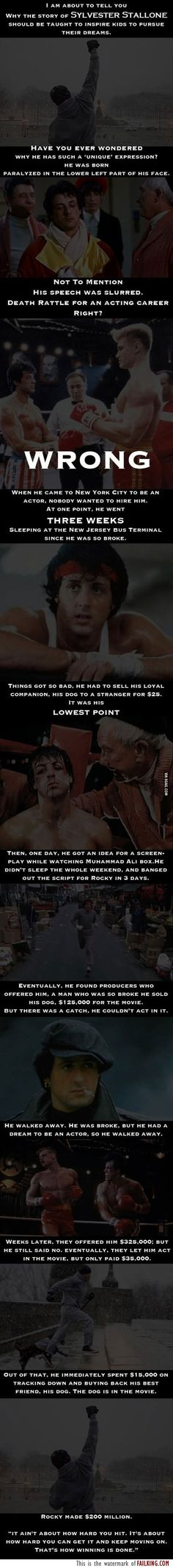Wow this is why this movie is my absolute favorite. Even his real life story can offer you a lesson in perseverance.