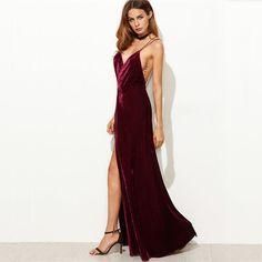 Crushed Red Velvet Backless Floor Length Dress