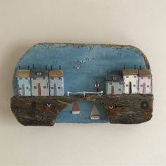 Under the bridge wall plaque. #shabbydaisies #shabbychic #nautical #driftwoodart #rusticart #bridge#sailboats#seaside #seagulls #harbour #handmade