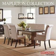 A durable and cool new take on traditional style furniture, the Mapleton Table Top is water and heat resistant! (Item# 190451)  #Decor #HomeDecor #HomeImprovement #HomeMakeover #HomeFurnishing #HomeGoals #InteriorDesign #Interior123 #InteriorDecor #HomeStyle #HomeInspiration #HomeInspo #DesignInspo #FurnitureDesign #DiningRoom #Table #Chair #CoasterCompany #Coaster