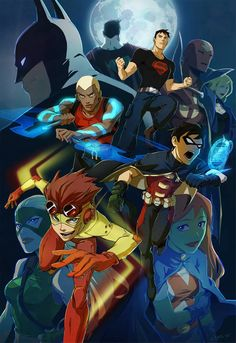 Young Justice Original six - Aqualad, Robin, Kid Flash, Superboy, Miss Martian and Artemis. Young Justice League, Young Justice Invasion, Young Justice Comic, Wally West Young Justice, Nightwing Young Justice, Young Justice Characters, Young Justice Season 3, Dc Characters, Robin Starfire