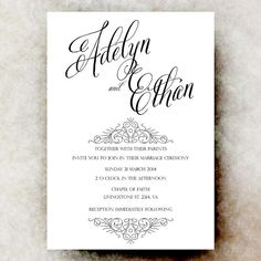 White black Wedding Invitation, Vintage wedding, printable wedding invitation, simple wedding invitation