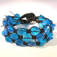 Micro macrame bracelet with bright blue vintage lucite beads / Etsy
