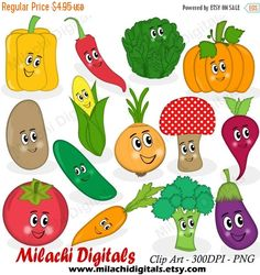 60% OFF SALE Vegetable clipart veggie by MilachiDigitals on Etsy