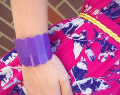 Wavy PURPLE RECORD Cuff  Professionally Cut from by AtomicHotdish, $21.00