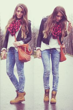 29 stylish street style outfit ideas i like these shoes :) girl pamela · moda juvenil femenina Stylish Street Style, Street Style Outfits, Casual Outfits, Fall Winter Outfits, Autumn Winter Fashion, Summer Outfits, Winter Clothes, Mode Timberland, Timberland Boots Outfit