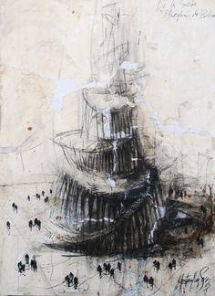 GUSTAVO DIAZ SOSA, Huérfanos de Babel / 2013, mixed media surface with conté drawing