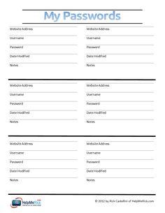Password Tracker Editable Printable PDF - Instant Download ...