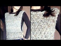 Cómo tejer un CHALECO a crochet en PUNTO TUNECINO diagonal   Ahuyama Crochet - YouTube