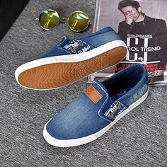 53d6d18acdf Spring Summer Men Shoes Fashion Breathable Blue Denim Shoes Slip on Mens  Casual Shoes Men Flats