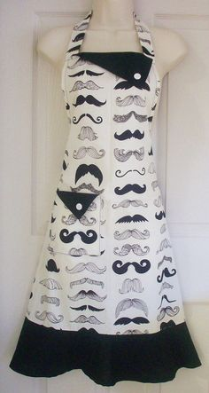 Retro Inspired Black Moustache / Mustache Motif by Eclectasie Moustache, Mustache Party, Sewing Aprons, Sewing Clothes, Jean Apron, Towel Apron, Stitch Witchery, Cool Aprons, White Apron