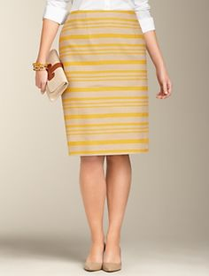 Hemp Stripe Pencil Skirt . Up to size 24 @plus size. Horizontal stripe pencil skirts work great to balance the woman who wants that pencil skirt look but is wider on top and narrow on bottom,  the inverted triangle shape. Available at Talbots.