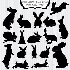 Kaninchen-Silhouette-Clip-Art set - 17 hoher Qualität (300 dpi) PNG druckbare digitale Elemente ideal für Scrapbooking, Karten machen, Einladungen, Grafik-Design. Alle Elemente sind auf einem transparenten Hintergrund. Privatanwender und kleine kommerzielle Nutzung für Ihre