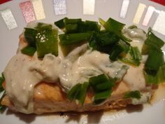 Baked Salmon (with Lime, Jalapeno Chive and Sour Cream Sauce)