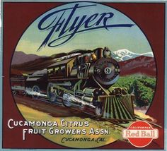 Cucamonga Flyer Locomotive Train Brown Version Orange Citrus Crate Label Art Print
