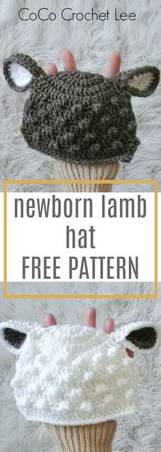Perfect for baby shower gifts! Crochet this adorable newborn Lamb Hat for free on the Em and CoCo Lee Blog.