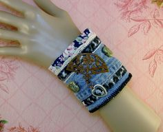 DENIM CUFF BRACELET-Anklet-Steampunk Cuff-Shabby Chic-Victorian-Eclectic-Blue Jean-Copper-Brass-Floral-Free Shipping-Upcycle-Recycle-#000004 by TheShabbyJean on Etsy https://www.etsy.com/listing/256935834/denim-cuff-bracelet-anklet-steampunk