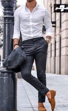 the white dress shirt is a men's style staple. This article features 8 essential types of shirts for men — 60 modern ways to wear each shirt style — how they should fit, and where you can buy them. Mens Casual Dress Outfits, White Shirt Outfits, Formal Men Outfit, Stylish Mens Outfits, White Shirt Man, Men Formal, Man Outfit, White Pants Outfit Mens, Mens White Dress Shirt