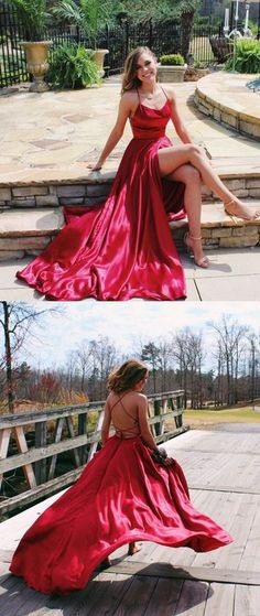 Gorgeous Straps Red Long Prom Dress with Slit G401