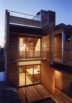 Japanese, Seiichi Kubo, Yoshinobu Kagiyama and Mine Muratsuji from Japanese architecture firm Archivi Architects & Associates designed this modern wooden house in Wakura