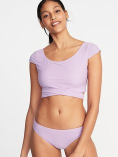 e6374ac51f Old Navy Women's Wrap-Back Cap-Sleeve Swim Top Lavenderlicious Size XXL