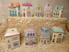 Nine 1989 Lenox Spice Village Set of 9 Houses Porcelain Victorian Condiment Jars #Lenox