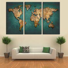 Carte du monde Toile Peinture Murale Décor À La Maison Vintage Grand Foncé vert Cartes Art Photos Pour Le Bureau Salon Salle de Réunion Pas cadres