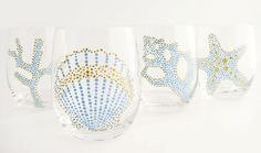 Sea Motif Hand Painted Glasses, Aqua & Gold S/4 - other patterns/colors - great if we ever have a beach house