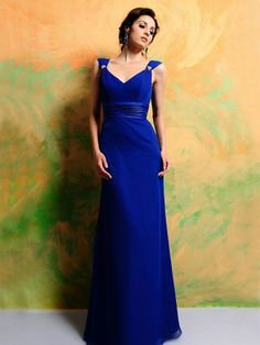 Spring Style Sheath / Column v-Neck Ruffles Sleeveless Floor-Length Chiffon Prom Dress ... many colors.